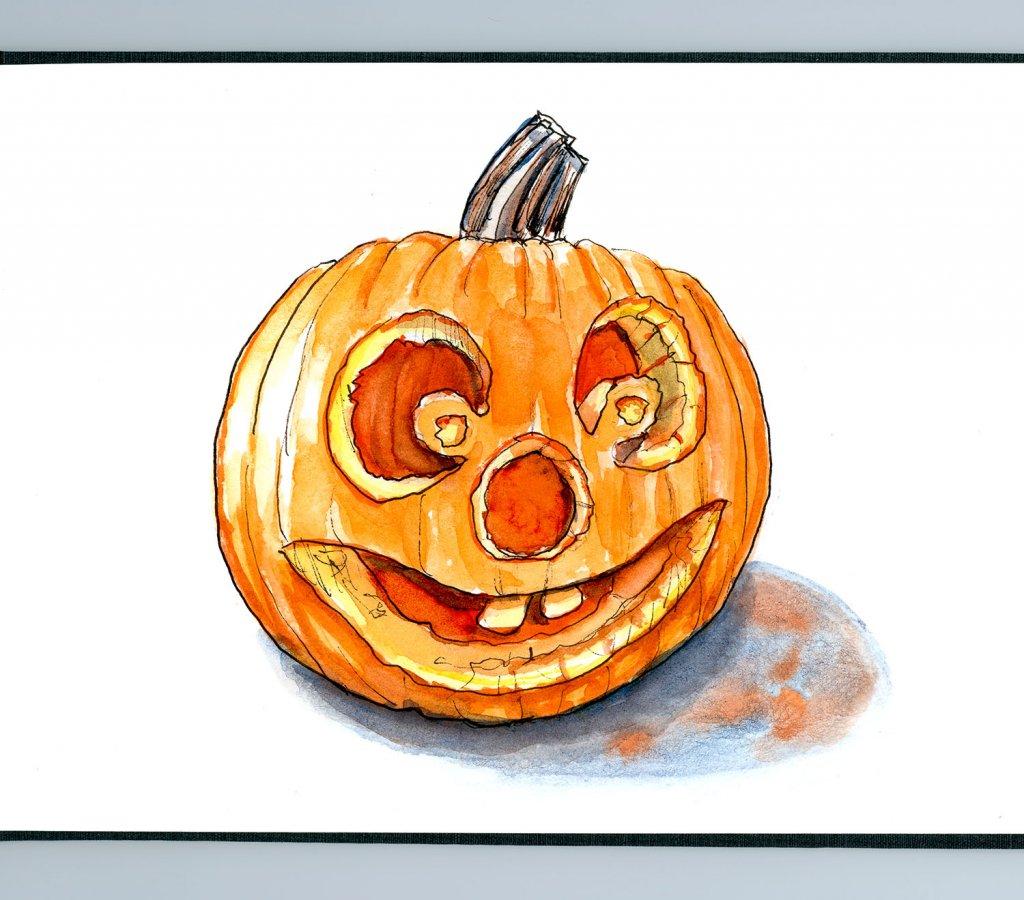 Day 28 - Halloween Pumpkin Inktober Watercolor Sketchbook - Doodlewash