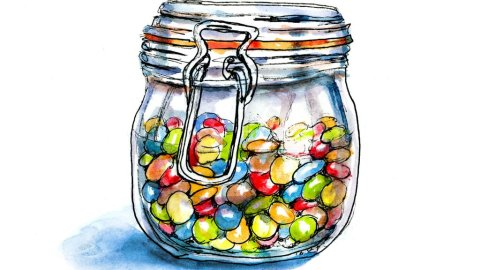 Day 31 - Candy Jar Inktober Watercolor - Doodlewash
