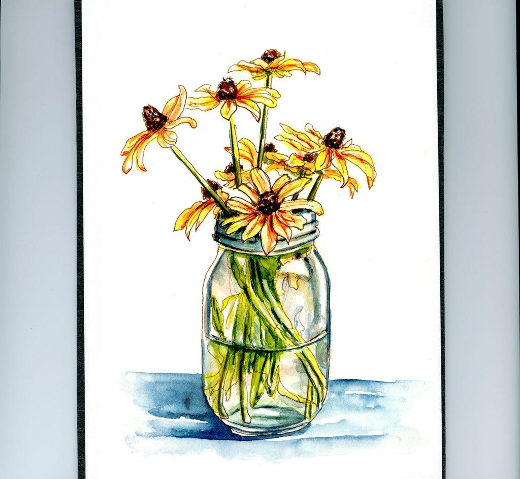 Day 4 - Fall Flowers Watercolor Black-Eyed Susan Jar - Doodlewash