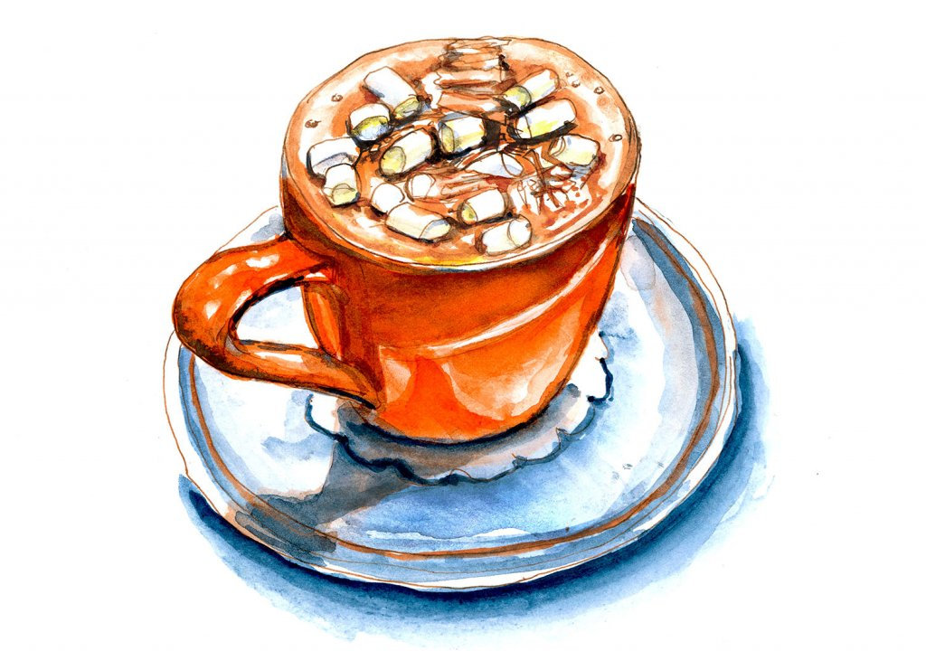 Day 5 - Hot Chocolate With Marshmallows On Top Watercolor - Doodlewash