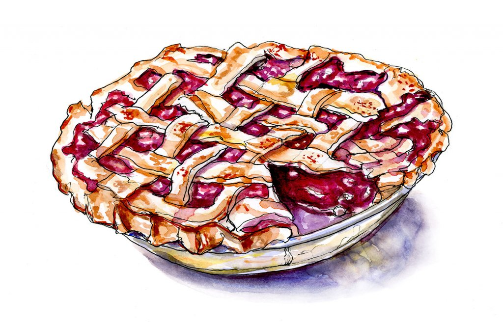 Day 9 - Cherry Pie Watercolor - Doodlewash