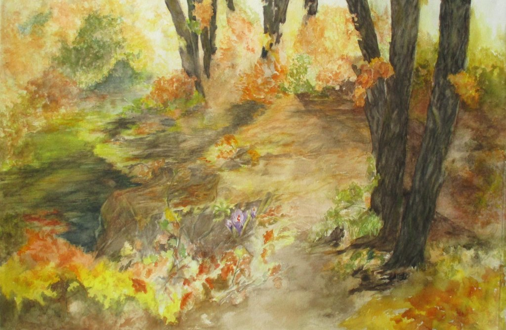 """Autumn crocuses"", 38 x 55 cm, #WorldWatercolorGroup #doodlewashOctober2018 IMG_0590"