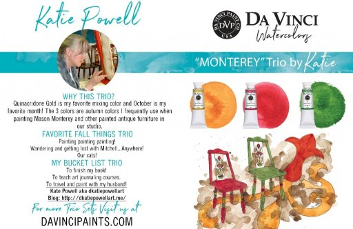"""YaY! My """"Monterey Trio"""" by Da Vinci Paints launches today! It was hard to keep quiet about it! C"""