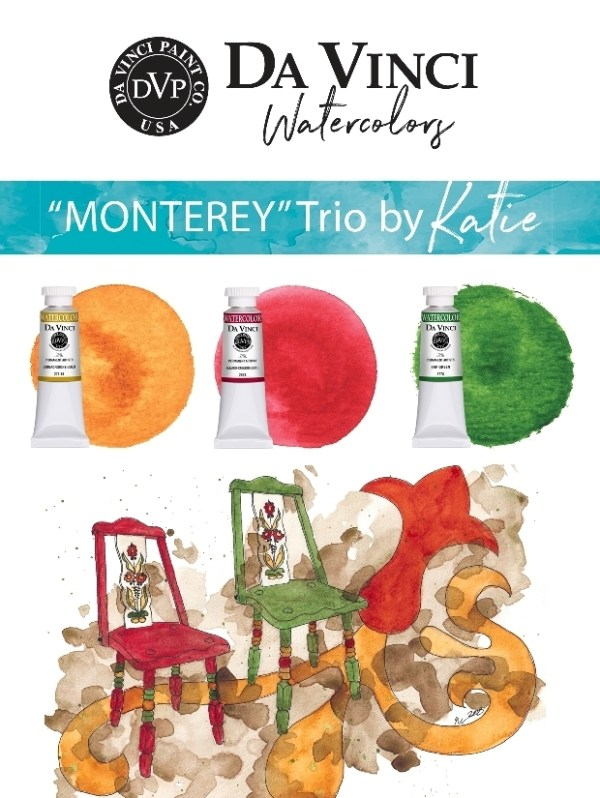 Katie Powell Monterey Da Vinci Watercolor Trio