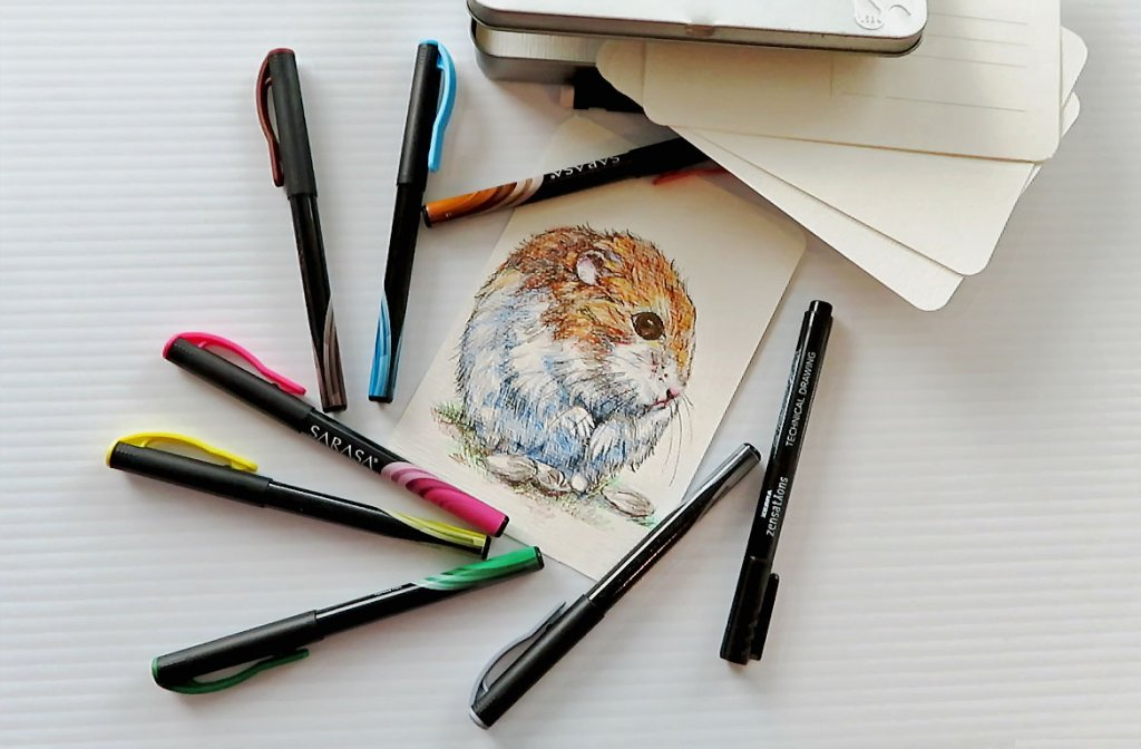 How To Draw A Hamster On A Postcard ~ Doodlewash®