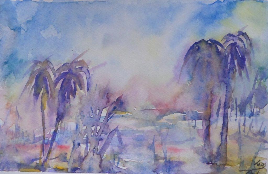 Palmtrees wet in wet painting. Very loose and spontanies painting. 12x15cm imageimage