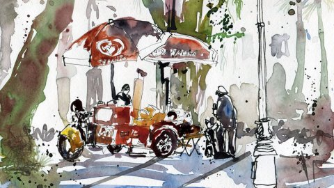 Asian Civilisations Museum Ice Cream Watercolor by Whee Teck Ong - Doodlewash
