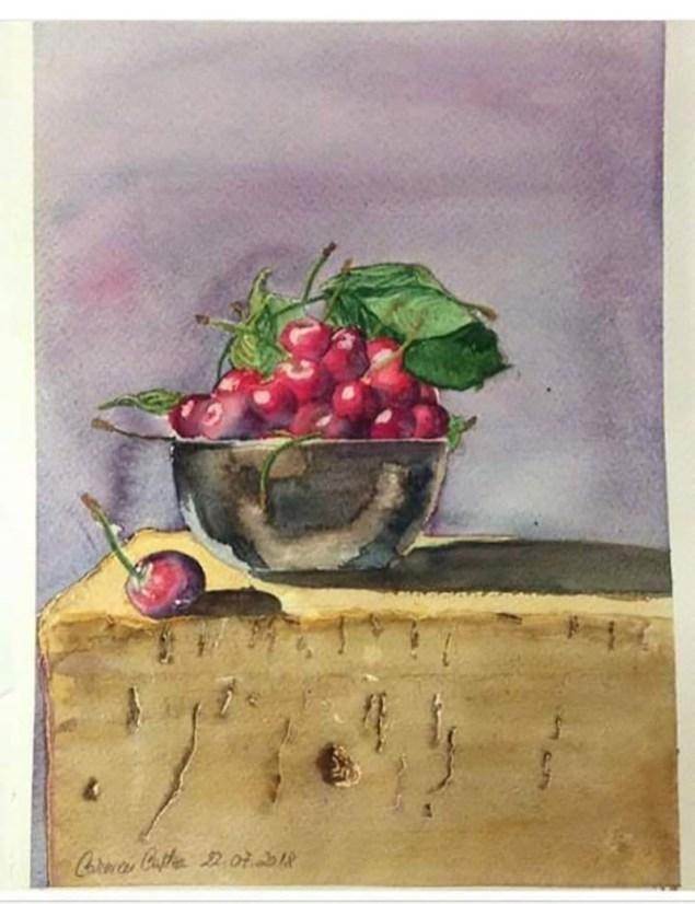 Bowl of Cherries Watercolor by Carmen Costea - Doodlewash