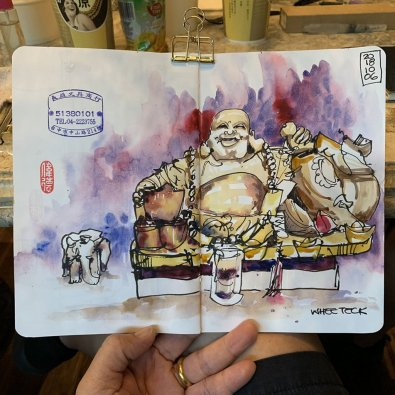 Buddha Watercolor by Whee Teck Ong - Doodlewash