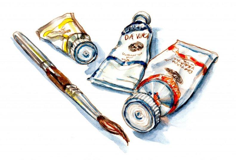 Day 1 - Painting Of Watercolor Tubes Da Vinci Vintage Trio_