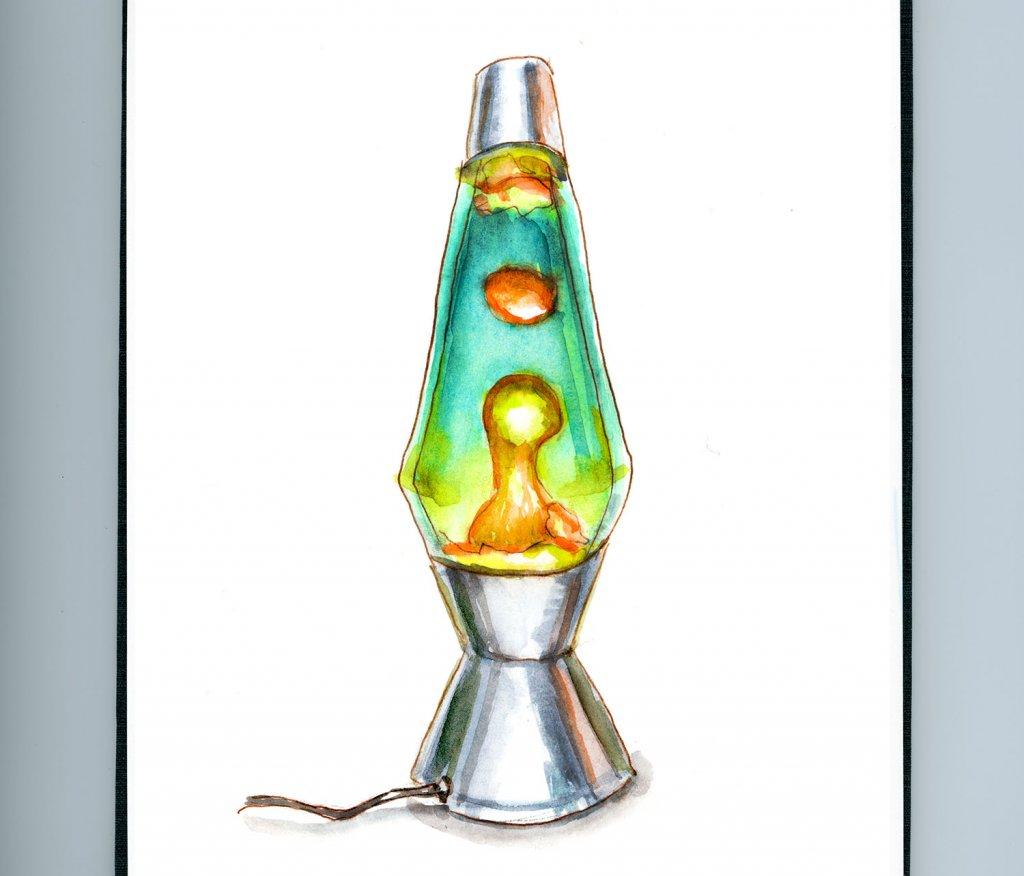 Day 10 Lava Lamp Watercolor Detail- Doodlewash