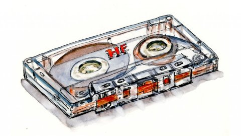 Day 11 - Cassette Tape Watercolor Music - Doodlewash