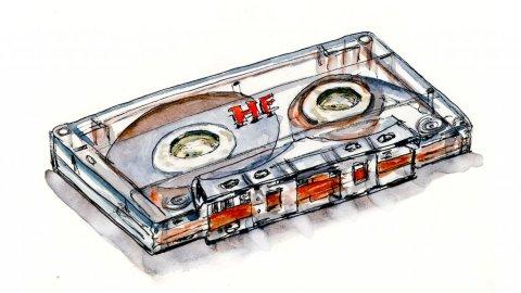 Day 11 - Cassette Tape Watercolor Music - Doodlewash
