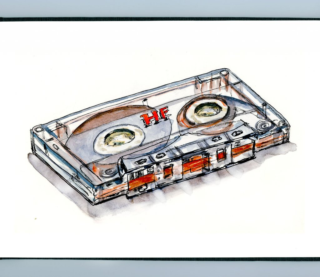 Day 11 - Cassette Tape Watercolor Music Detail - Doodlewash