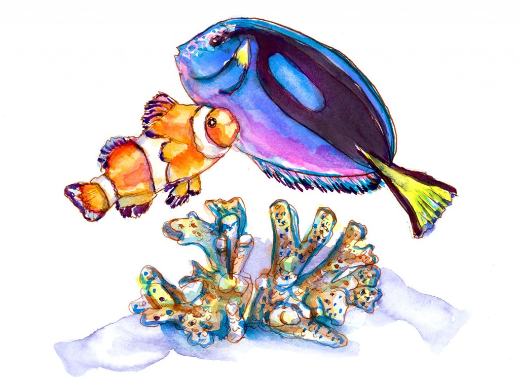 Day 12 - Clown Fish Blue Tang Watercolor Nemo Dory - Doodlewash