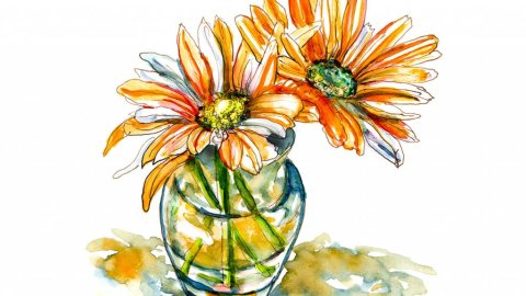 Day 13 - Orange Flowers Watercolor Painting - Doodlewash