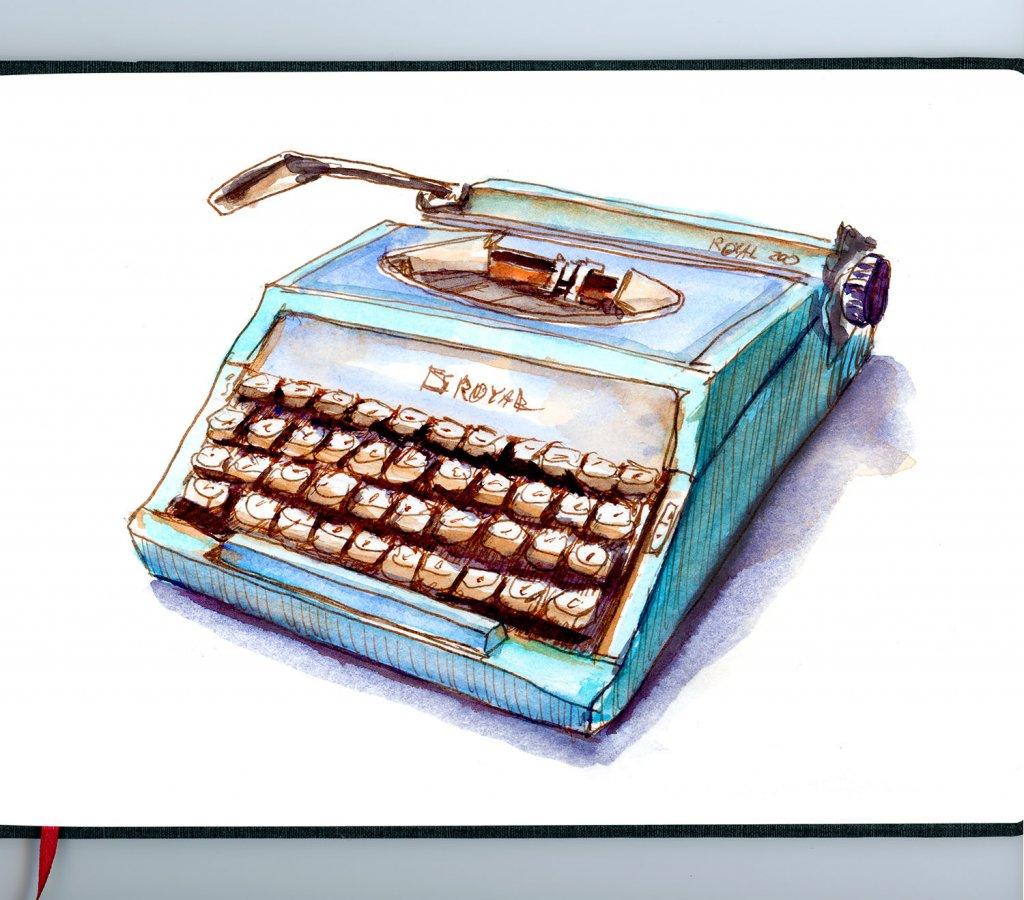 Day 18 - Cool Retro Typewriter Illustration Sketchbook - Doodlewash