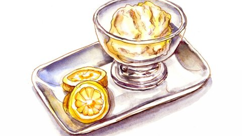 Day 2 - Lemon Sorbet Ice Cream Watercolor - Doodlewash