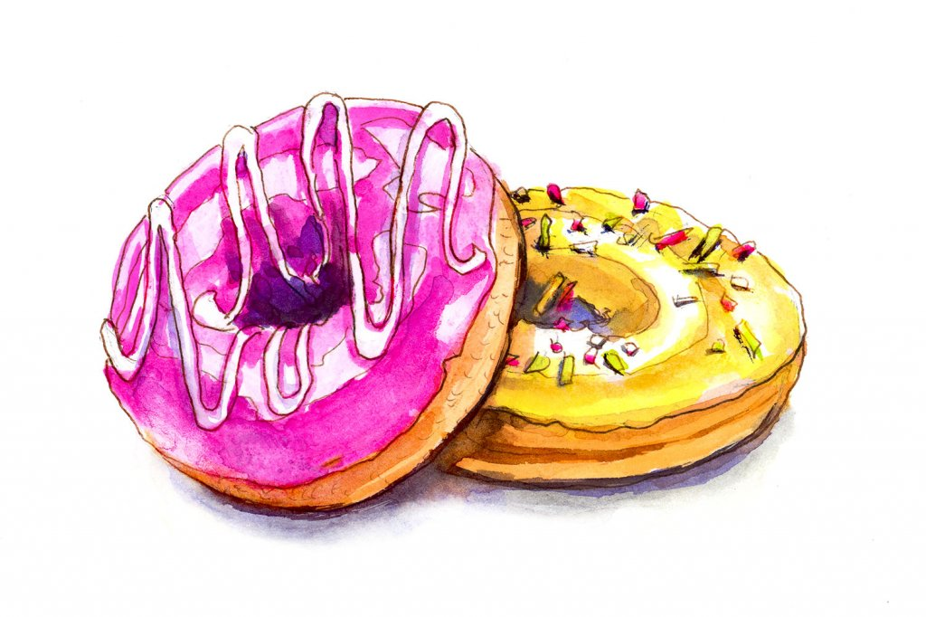 Day 20 - Colorful Donuts Watercolor - Doodlewash