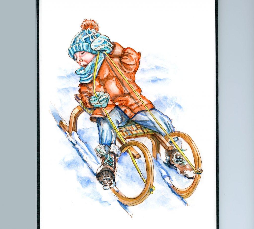 Day 22 - Little Boy Sledding Toboggan Watercolor Christmas Sketchbook - Doodlewash