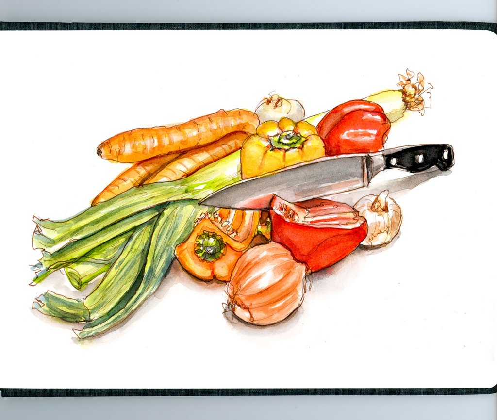 Day 23 - Vegetables Watercolor Organic Sketchbook - Doodlewash