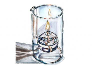 Day 24 - Burning The Midnight Oil Candle Watercolor - Doodlewash