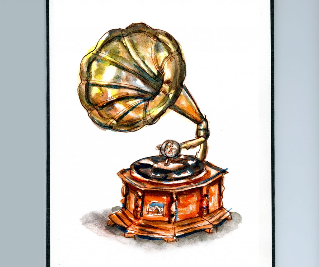 Day 29 - Phonograph Watercolor Vintage Sketchbook - Doodlewash