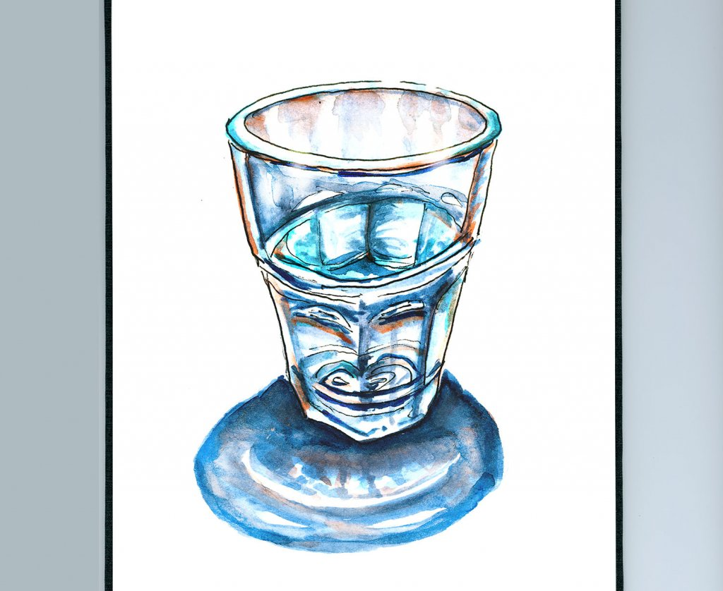 Day 6 - Glass Half Full Or Half Empty Perspective Detail - Doodlewash