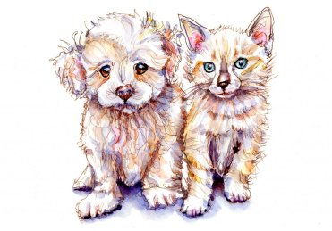 Day 7 - Puppy And Kitten Watercolor Innocence - Doodlewash