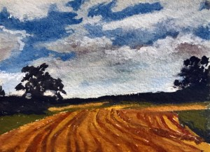 Miniature watercolor plein air study for painting – EveningField72