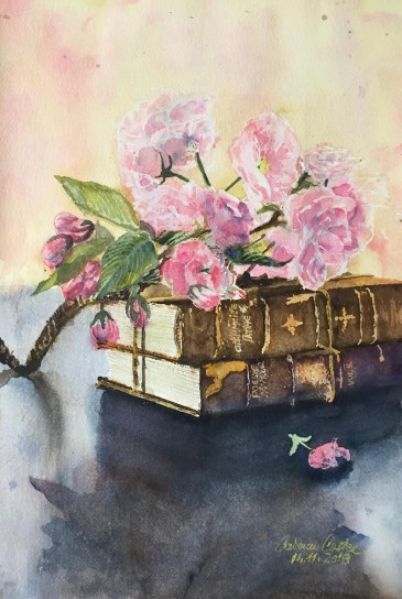 Flowers And Books Watercolor by Carmen Costea - Doodlewash