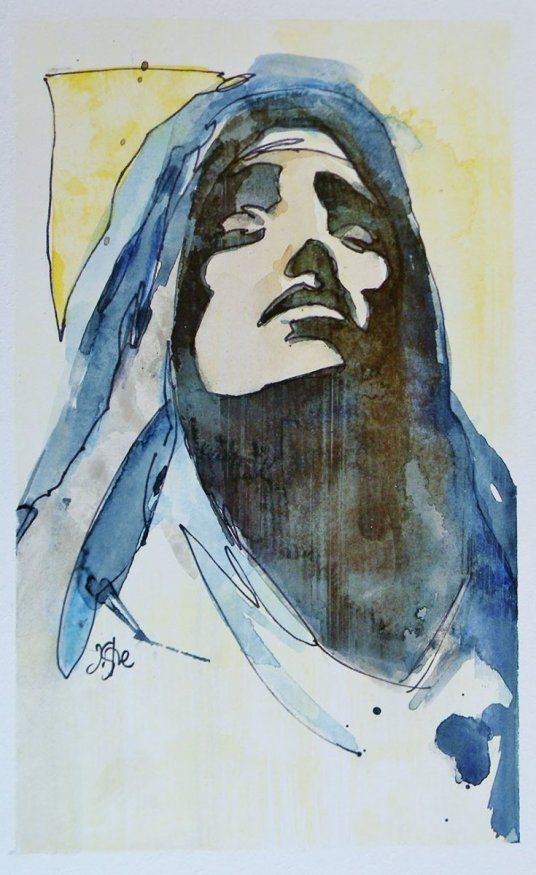 Mary Christian Watercolor By Jeff Stone - Doodlewash