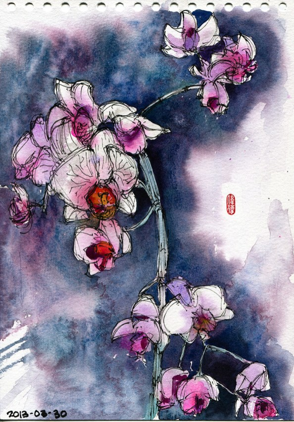 Orchid Watercolor by Whee Teck Ong in Jakarta - Doodlewash