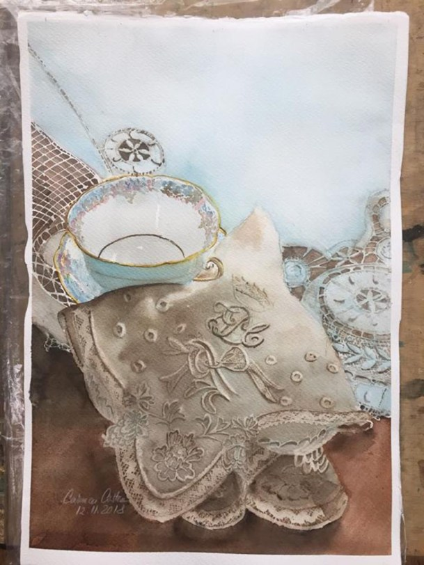 Porcelain and Embroidery Watercolor by Carmen Costea - Doodlewash