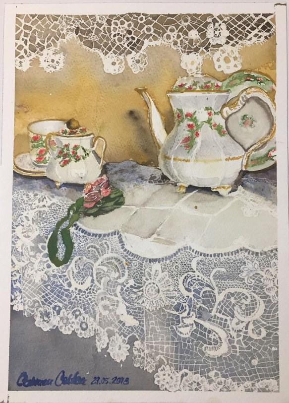 Porcelain And Lace Watercolor by Carmen Costea - Doodlewash