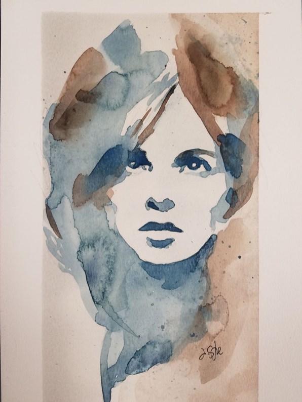 Portrait Of A Woman Watercolor By Jeff Stone - Doodlewash
