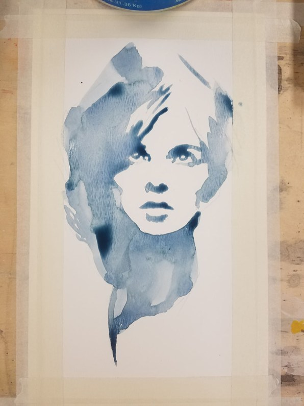 Portrait Of A Woman Watercolor Step 1 By Jeff Stone - Doodlewash