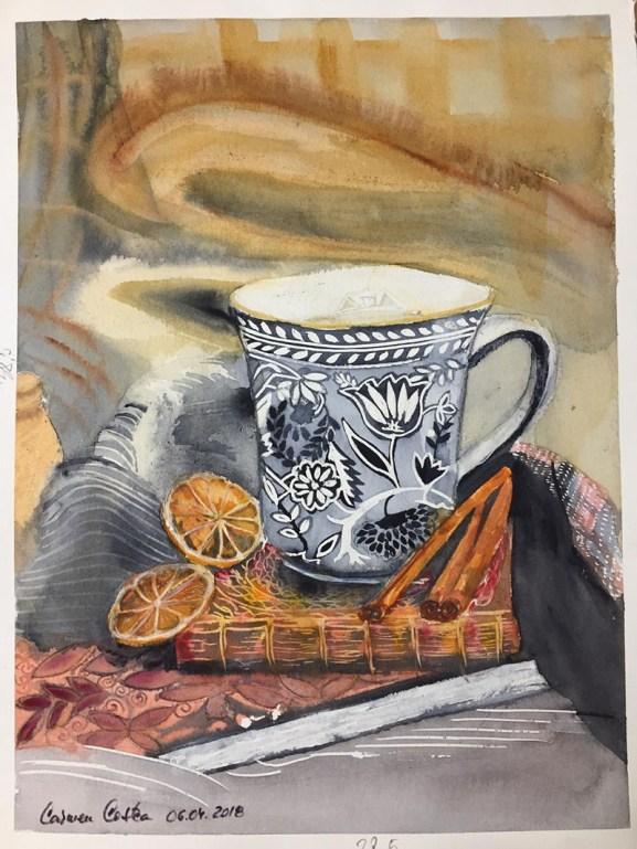 Tea With Lemon and Cinnamon Watercolor by Carmen Costea - Doodlewash