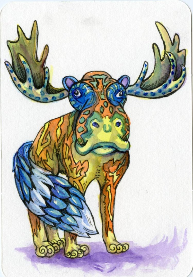 Another Alebrije for hubby's lunch bag -Moose, Hippo, Fox, Raccon #PostcardsForTheLunchBag #Wa