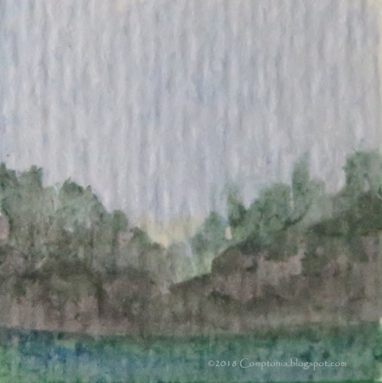 One-inch-square landscape on Strathmore watercolor paper. nov11