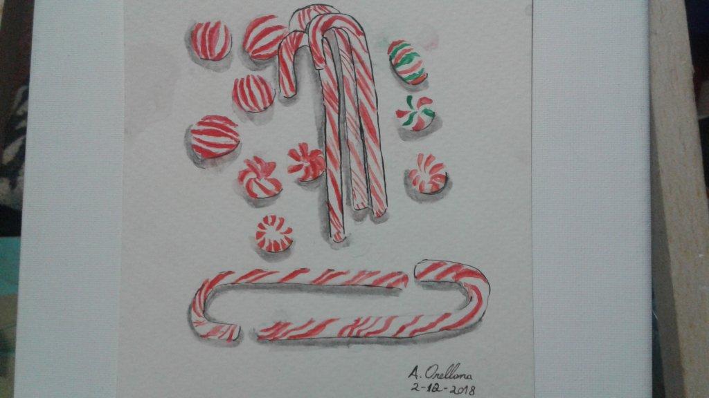 Dia 2 de diciembre del 2018 acuarelas y desafío de boceto Tema: Caramelos de menta navideños Tecni