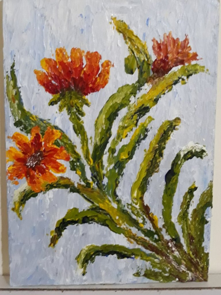 My first pellet knife painting on flat canvas 20181024_113409
