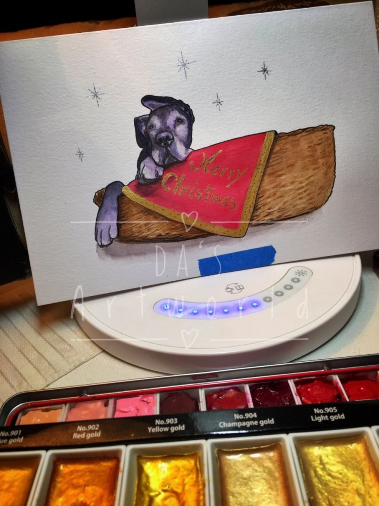 My pup couldn't miss on my Christmas cards! Card done on Daley Rowney mixed media paper with water