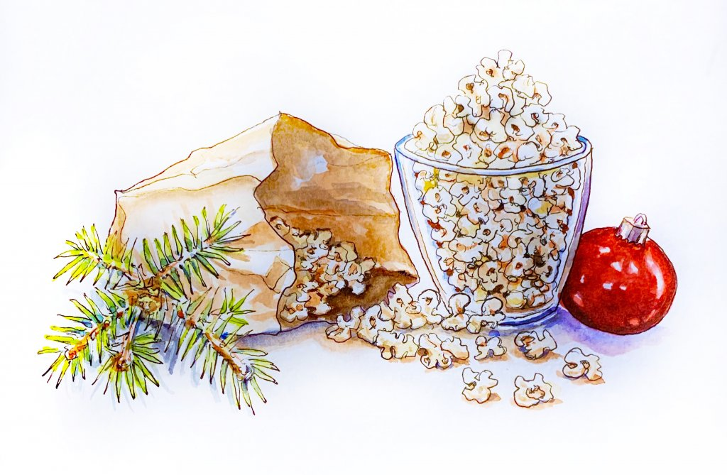 Day 7 - Popcorn At The Holidays Sketchbook - Doodlewash