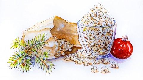 Day 7 - Popcorn At The Holidays Sketchbook - Doodlewash