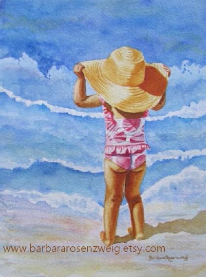 Beach Girl With Big Hat Watercolor by Barbara Rosenzweig - Doodlewash