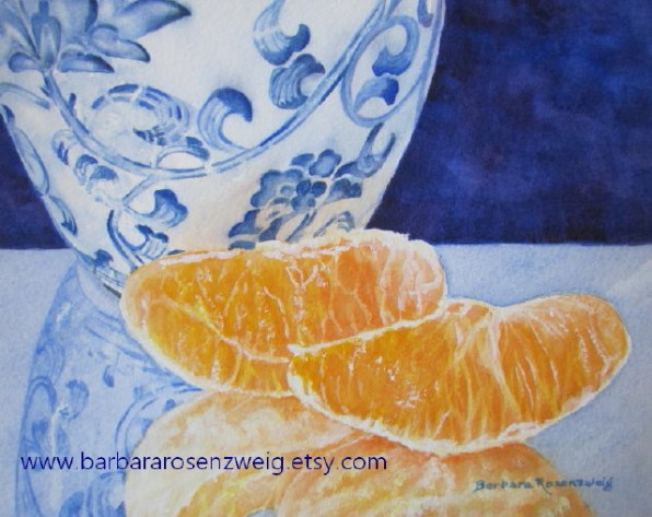 Blue and White Vase Oranges Watercolor by Barbara Rosenzweig - Doodlewash
