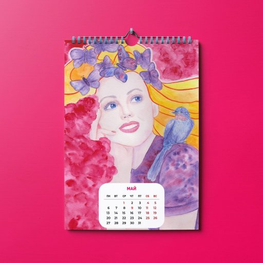 May. My fifth calendar girl #watercolor Calendar_Mockup_A3_1square