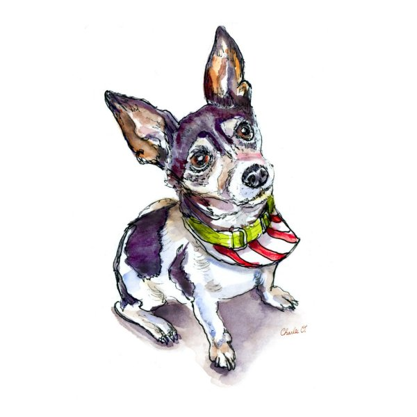 Christmas Dog Pet Portrait Watercolor Print - Detail