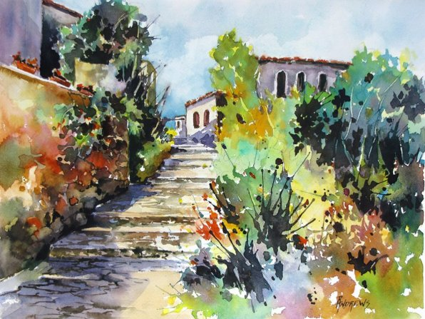 Watercolor by Rae Andrews - Colors of Spain Watercolor 12 x 16